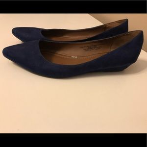 Navy blue suede flats
